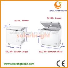 Manufacturer supply solar battery powered energy deep chest 12v car fridge freezer 60L