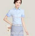 Wholeslae 2015 100% orgánica de algodón de manga corta slim fit ladies' oficina uniforme de camisa blusa