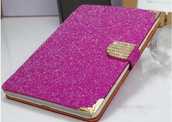 2014 Big Discount glitter diamond wake sleep leather case for ipad air