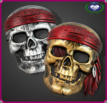 Manufacture Pirates of the Caribbean Scary Plastic Pirate Mask Full Face PVC Halloween Skull Masks