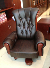 USA Style Genuine Brown Button-Tufted Leather Executive Office Chair (FOHC-08)