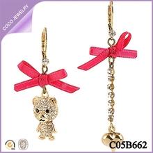 wholesale newest lady red bowknot rhinestone heart cute bears earrings