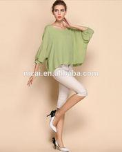 2014 fashion 100% linen ladies loose plain t shirt