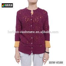 Hand Crochet Cashmere Cardigan Woman Sweater