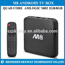 M8 TV BOX 2GB RAM+8GB ROM Quad Core CPU 8Core GPU Android 4.4 TV BOX