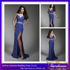 2014 Models Charming Deep V-neck High Side Slit Sexy Purple Lace Long Dress Ladies Western Dress Designs (ZX546)