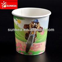 yogurt paper cups with cartoon artwork