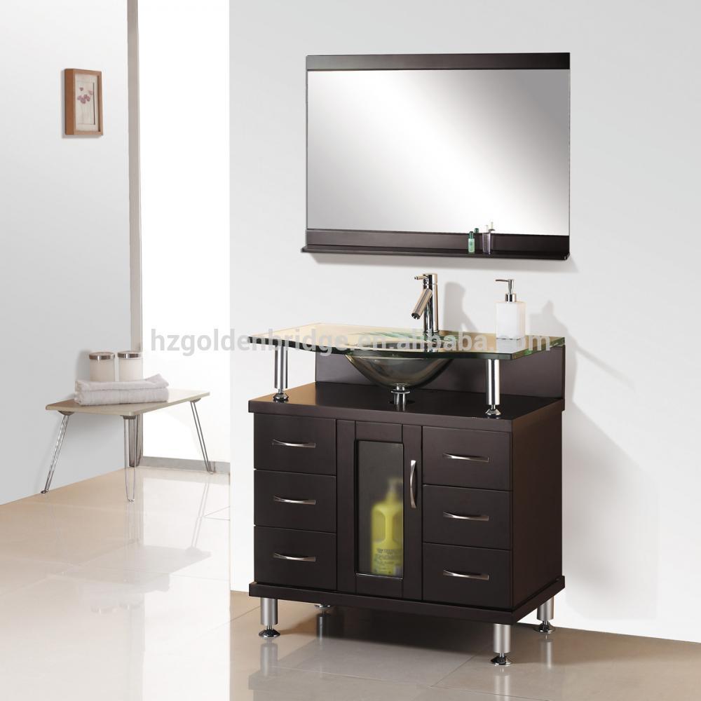 cheap bathroom vanity floor mounted solid wood cabinet 46147
