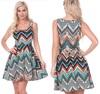 New Arrival Transparent Aztec Jersey Midi Dress / Fashion Silk Chiffon Dress / High Quality Ladies Dress Clothes