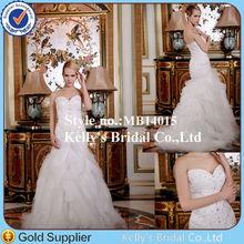 Sexy sweetheart neckline heavy beading bodice western design bubble train mermaid tulle wholesale bridal garters