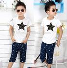 The fashion summer 2014 children clothing han edition the five-star coat T-shirt Cowboy pants boy's suit