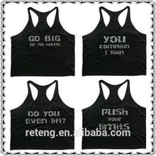 Slogan Logos Printed Mens Workout Tank Top/GYM Racerback Stringer