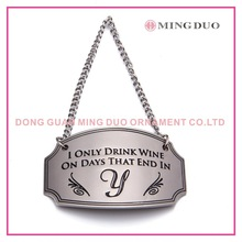 metal wine bottle pendant, metal wine scutcheon
