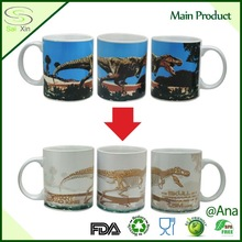 Customize 11oz Thermal Color Changing With Dinosaur Printing Ceramic Magic Cup