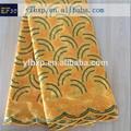Amarillo africano del bordado de encaje grandes/cortados a mano de encaje gasa/suizo de encaje gasa