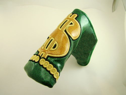 Custom Innovative USA Dallar Synthetic Leather Golf Putter Club Headcover Green golf putter head cover with magnetic closure