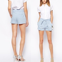 Laest design fashion high waist shorts with belted waist detail