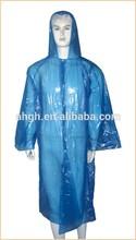 disposable PE rain coat with hat ,rain poncho with long sleeves plastic rain coat