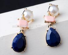 Hot sell fashion alloy set auger gemstone earring white pearl tear drop earrings Pretty Tear Drop Opal and diamond Earrings