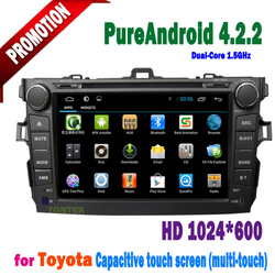 Android 4.2 touch screen car dvd player for toyota corolla 2012 2011 2010 2009 2008 2007