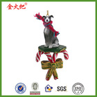 Resin greyhound dog candy cane christmas ornament figurine