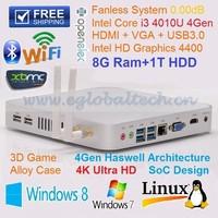 Cheap Desktop pc intel core i3 processor Fanless Mini Desktop Computer Living Room HTPC 4 USB 3.0 HD4400 Graphic