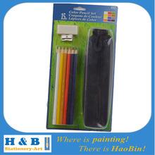 15pcs Vinyl Eraser pencil sharpener Nylon zipper pencil case color pencils stationery set school supply