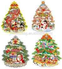 2014 Run xiang 3D Glitter Paper Christmas decoration,Hot sell christmas tree
