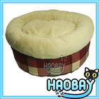 2014 New Pet Products Super Softy Colorful Lattice Round Luxury Designer Pet Dog Beds With Non-slip Bottom
