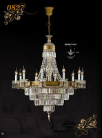 Transparent large crystal candlestick pendant light