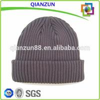 100% Cotton men sports winter hats knitted grey plain long beanie