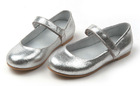 Simple baby girls silver round toe shoes kids girls ballet shoes flats new designs girls school shoes