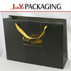 large size luxurious paper gold foil printed black paper shopping bags with ribbon
