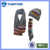 fashion striped long scarves gloves hat with pocket