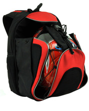 unique computer backpack with basketball and football compartment