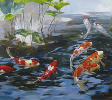 wall art koi fish painting on canvas for living room decoration
