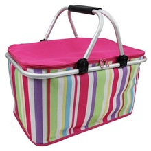 2014 Foldable Reuseable Compact Tote Shopping Bag Picnic Basket Environment Friendly