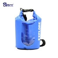 5L polyester TPU waterproof dry bag with window for outdoor camping