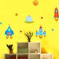 Original de cohetes de aeronaves en el espacio ultraterrestre etiqueta de la pared auto-adhesivo papel pintado la habitación de los niños etiquetas de la pared