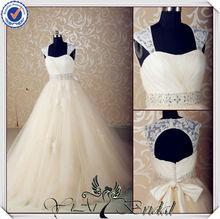 JJ3560 keyhole back champagne colored vintage lace wedding dresses detachable straps