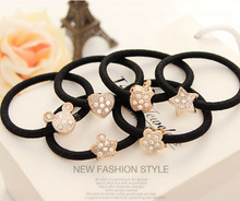 latest new design crystal cute heart apple star crown flower mouse metal bead ponytail holder hair ornament
