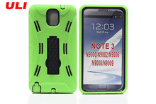 Dual layer hybrid kickstand silicone phone case for samsung galaxy note3