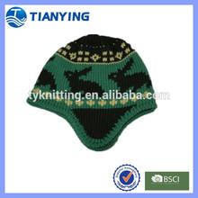 acrylic rabbit jacquard kids earflap knit hat