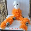 pluma de color naranja del cráneo collar de decoración de carnaval