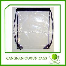 Factory direct sale clear vinyl drawstring bag