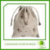 Small fashion printing drawstring jute bag