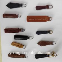 Genuine leather zip puller for handbag leather zipper puller