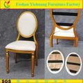 Dubai novo design Velcro voltar ouro pintura couro branco Retro cadeira