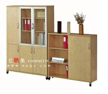 Swing door office panel wooden filing cabinet, P2,E1,E2 melamine office wooden file cabinet with upper glass door