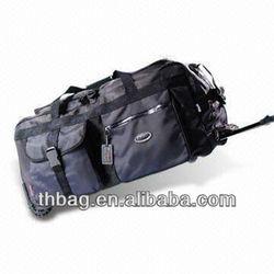 600D PVC trolley duffel bags with wheels travel trolley luggage bag